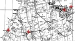 Black and white circles represent boreholes testing for gas and oil. Red stars were added to identify from left to right:  Kincardine (nuclear waste), Walkerton (water tragedy), Collingwood (shale oil) and Wasaga Beach (oil testing plus dead fish/birds). Map courtesy of the MNR.